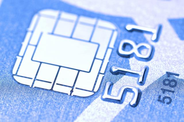 Macro Business chip card with blue toned